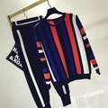 Long-sleeved Striped Sporty Sweaters  and Pants 2pcs Suits Stretch Cuff Fashion Knitted Sports Suits Green Orange