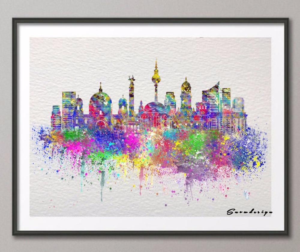 DIY Original Berlin Skyline Aquarell Leinwand Malerei Wandkunst Poster Drucken Bilder Wohnzimmer Dekoration Wand Hngen