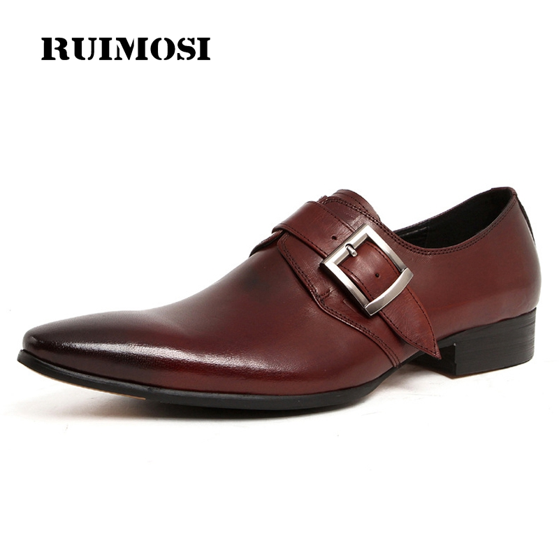 RUIMOSI 2017 Spring Man Italian Designer Dress Shoes Genuine Leather Cow Oxfords Pointed Buckle Men's Brand Bridal Flats AS45
