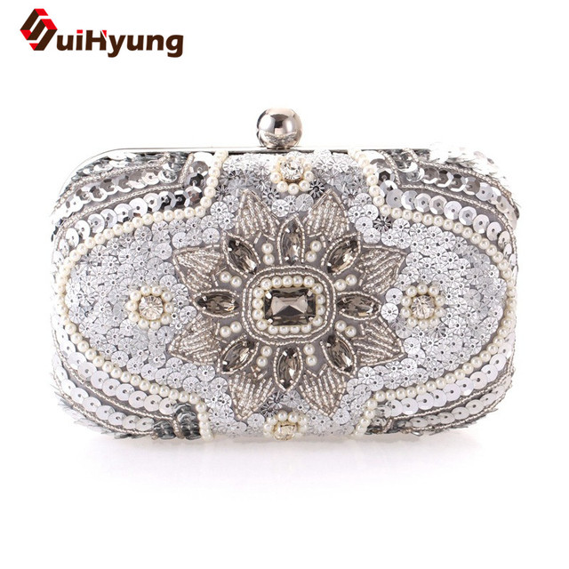 New Women's Handmade Beaded Sequined Handbag Upscale Diamond Pearl Evening Bag Wedding Party Clutch Flowers Chain Shoulder Bags