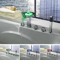 Высокое Качество Латунь светодиодный Ванная комната смесители для ванны Водопад холодной и горячей Контроль температуры Ванна смеситель д