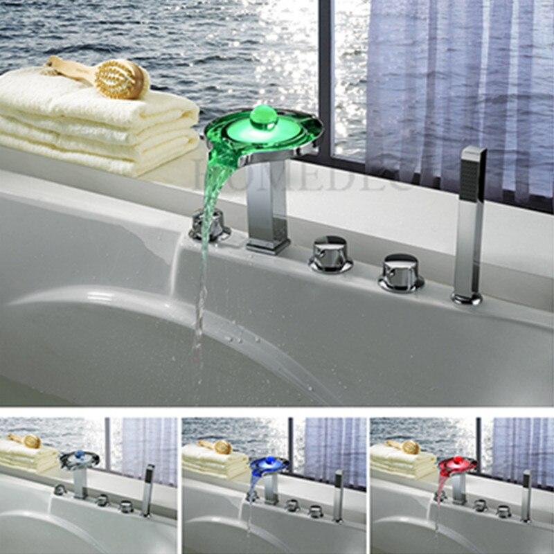 Haute qualité en laiton LED salle de bain baignoire robinets cascade froid et chaud température contrôle bain mélangeur Douche Robinet Douche