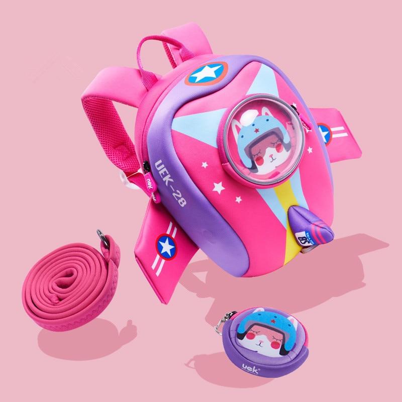 где купить 2018 Child Kids Girls Boys Cute Cartoon Aircraft Schoolbags Pocket Backpack Rucksack Bags Shoulder Bag Traction Rope Backpacks по лучшей цене