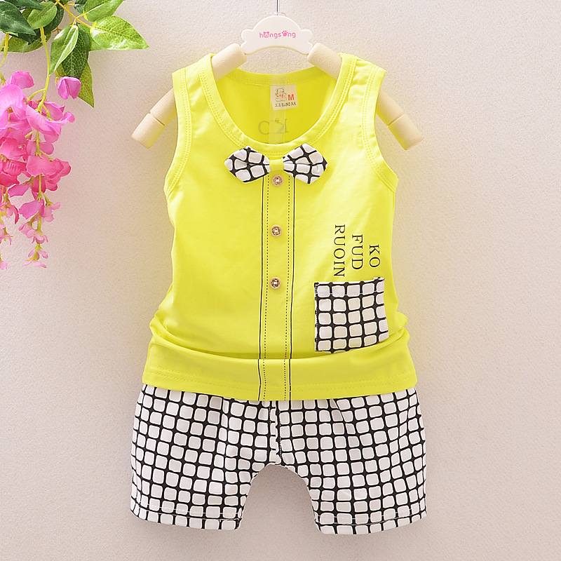 (2pcs/set) 2016 short T shirt children set baby Brand Girl Clothes set 100% Cotton bow plaid short Tee set