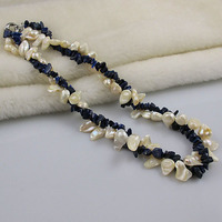 Unique Pearls jewellery Store,Blue Lapis White Genuine Freshwater Pearl Necklace 2Rows,Real Pearl Woman Jewelry