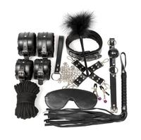 10pcs Set Bondage Restraints Slave Bdsm Collar Nipple Clamps Rope Pu Leather Hand Cuffs Fetish Mask Mouth Gag Exotic Accessories