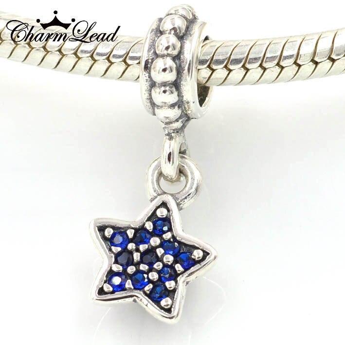 8825a7e2c ... 35.00 Fit Pandora Charms Bracelet Authentic 925 Sterling Silver Blue  Star Pave Charm Pendant DIY Beads for ...
