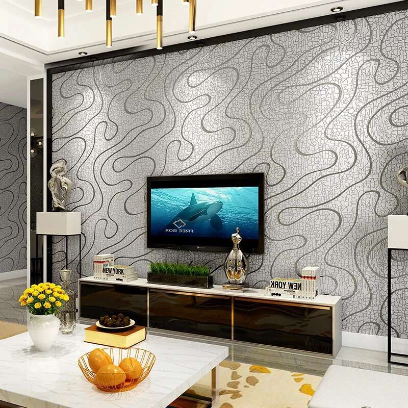 Abstract Striped 3D Embossed Flocking Non-woven Wallpaper For Bedroom Walls 3D Modern Living Room TV Background Papel De Parede