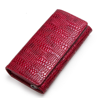 2019 fashion long leather women's wallet Multi card three fold first layer leather women's hand held wallet billiard ID card