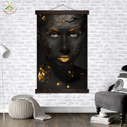 Gold Girl Make-up Modern Wall Art Print Pop Art Picture And Poster Solid Wood Hanging Scroll Canvas Painting Home Decoration