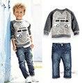 2016 мода Мальчики одежда наборы для осень/весна Дети костюм хлопок детская спортивный костюм верхняя одежда/толстовки + брюки/джинсы