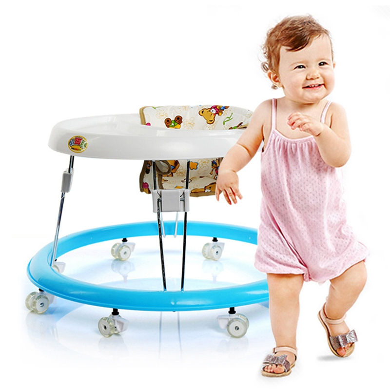 ФОТО New Arrival Baby Walker Anti-Rollover Round Foldable Infant Musical Chiar Toddler First Steps Assistant Tools