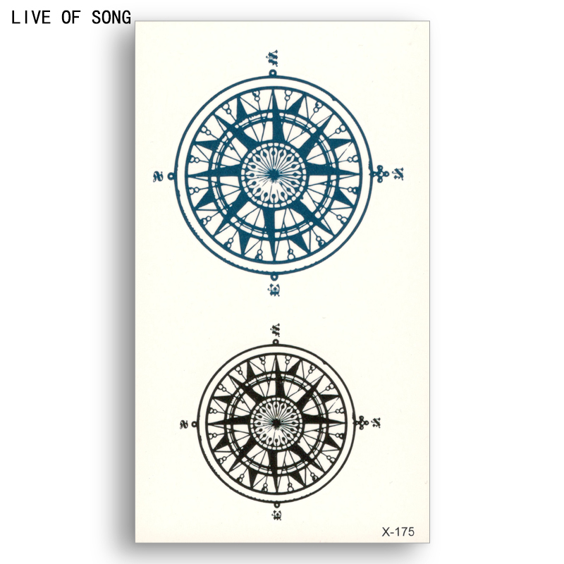 Fake Temporary Tattoo Water Transfer Black Blue Compass Sticker Men Women Beauty Sexy Cool Body Art Live Of Song X175