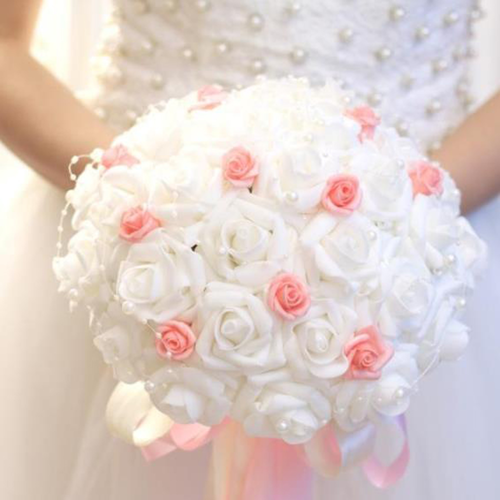 Aliexpress buy 2018 white pink artificial wedding bouquet with aliexpress buy 2018 white pink artificial wedding bouquet with pearls bridal bridesmaids bouquets flower girl bouquet from reliable artificial wedding izmirmasajfo