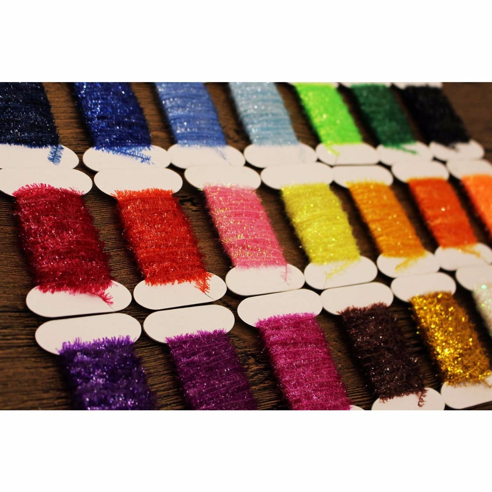 Tigofly 24 Colors Fly Fishing Tinsel Chenille Crystal Flash Line Nymph Streamers Lure Making Fly Tying Materials