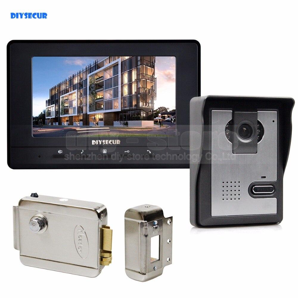 DIYSECUR 7 pouces interphone vidéo porte téléphone sonnette 1 caméra 1 moniteur + serrure électrique pour système de sécurité maison/bureau