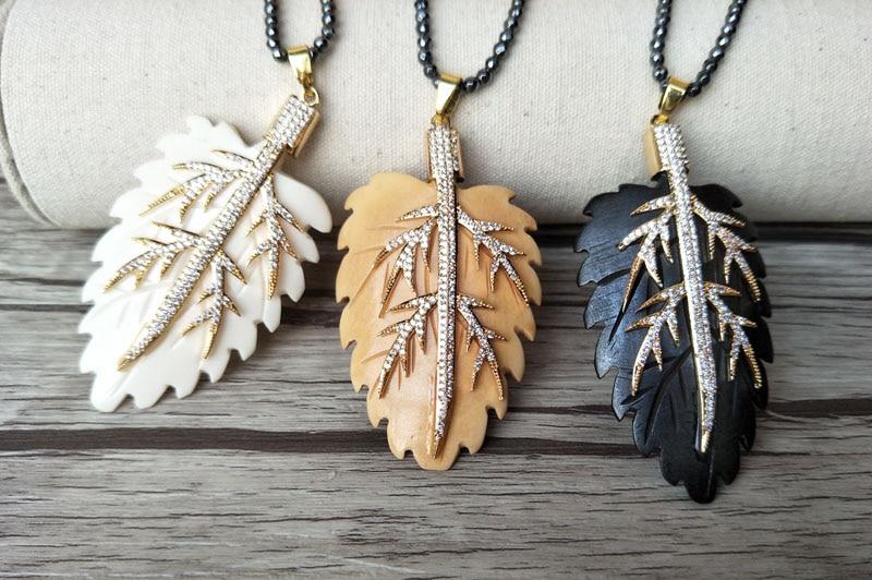 5 Strands Hematite beads necklace Unique leaf ox bone Pendant,CZ zircon Micro pave crystal Charm Boho necklaces for women NK146