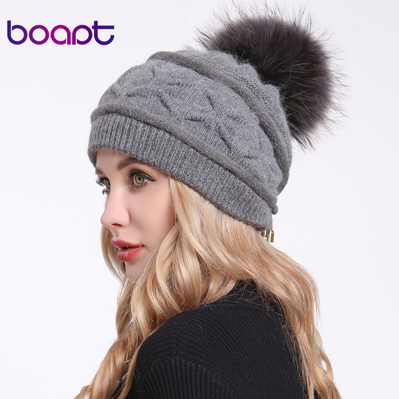 [boapt] Fluffy Real Raccoon Fur Pompon Winter Hats For Women Caps Rabbit Rope Thick Knitted Casual Female Hat   Skullies     Beanies