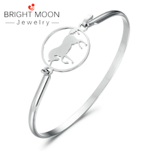 Bright Moon Trendy Women Accessories Silver Animal Color Stainless Steel Bangles Bracelets Retro Designer Jewelry Luxury