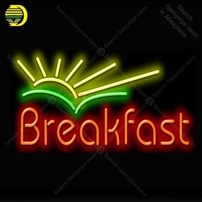 Café da manhã com o Nascer Do Sol Sinal da Luz de Néon Tubo De Vidro Lâmpadas de Néon Sinal Decoração do Quarto Do Hotel placa de Néon lâmpadas Sinal luminoso anuncio atarii