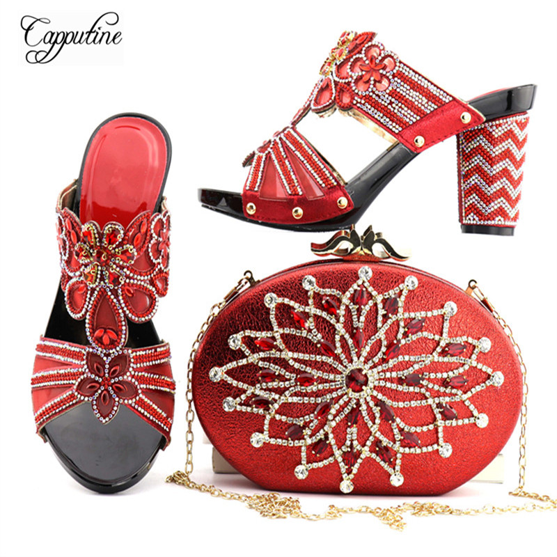 Capputine Latest Design Italian Rhinestone Woman Shoes And Bag Set Red Color African Shoes And Bag Set For Partr Free Shipping free shipping nylon pure black color soft backpacks storage bag for shoes and clothing with drawstring closure zz225