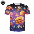 2017 Space T-Shirt 3d delicious foods yummy vibrant design t shirt hamburger chips Ice Cream pizza galaxy Women Men tees shirts