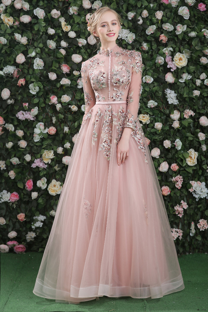 942a65cc222 CEEWHY Luxury Prom Dress Real Pictures Evening Dress Long Sleeves Tulle  Beading Vintage Formal Dress Embroidery Evening Gown