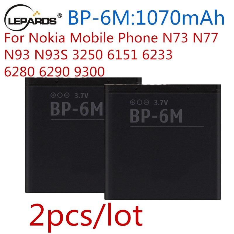 2 шт./лот BP-6M BP6M 6 м Батарея для мобильного телефона <font><b>nokia</b></font> n77 N93 n93s N73 <font><b>6233</b></font> 6280 3250 6151 6290 9300 В мобильного телефона Батарея