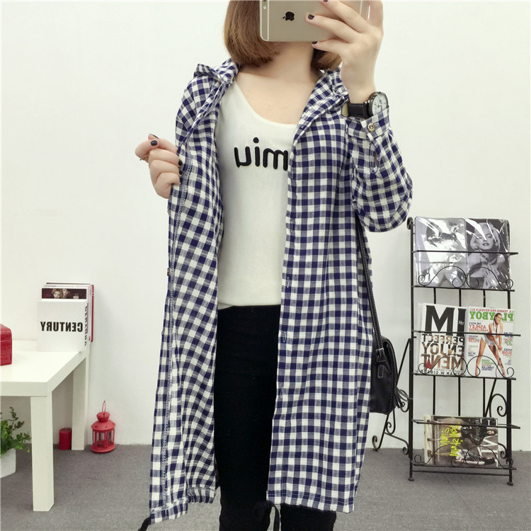 Brand Yan Qing Huan 2018 Spring Long Paragraph Large Size Plaid Shirt Fashion New Women's Casual Loose Long-sleeved Blouse Shirt 15