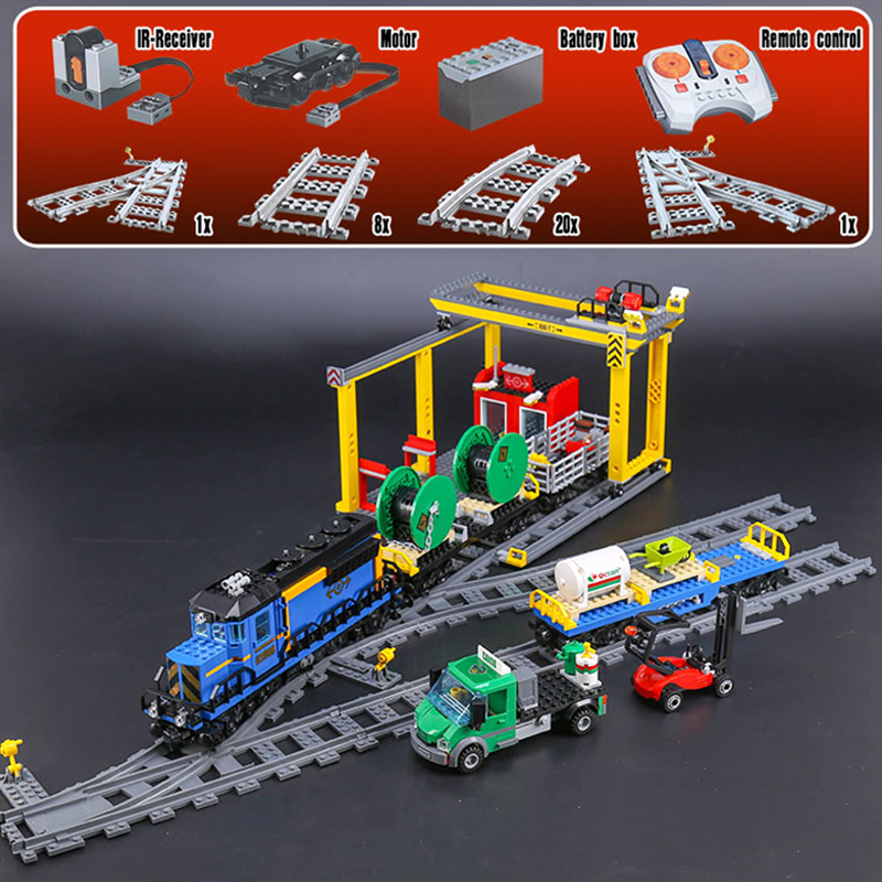 Lepine City Series 02008 the Cargo RC Train Set 60052 Building Blocks Bricks Children Educational Toys Christmas Gift LegoINGlys
