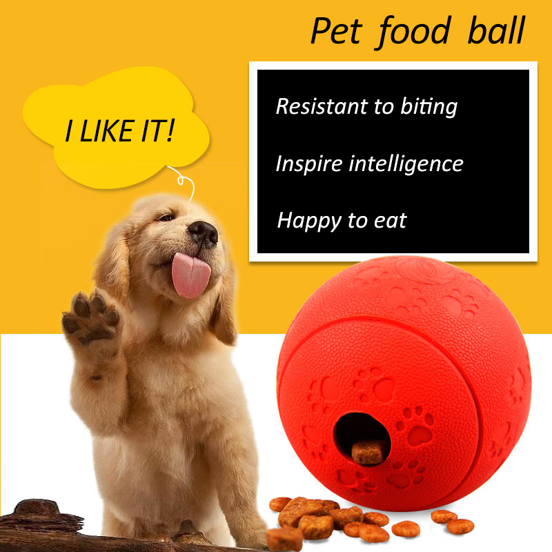 Funny Interactive Pet Dog Toys Rubber Ball Food Dispensing Elasticity Leakage Food Toy For Dog Tooth Clean Traning Dispenser in Dog Toys from Home Garden