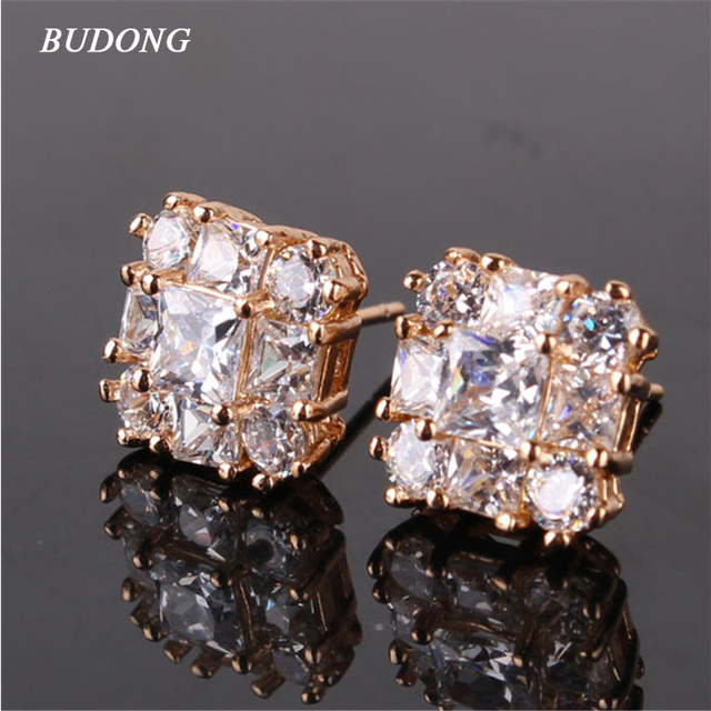 BUDONG Fashion Piercing Earring Silver/Gold-Color Stud Earrings Square Crystal Zirconia Brand Wedding Earings for Women XUE106