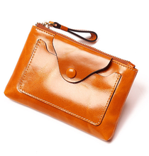 Retro Elegant Women Genuine Leather Wallet Unisex Card Holder Chic Cowhide Purse Ladies Zipper Clutch Wallets Carteira D519