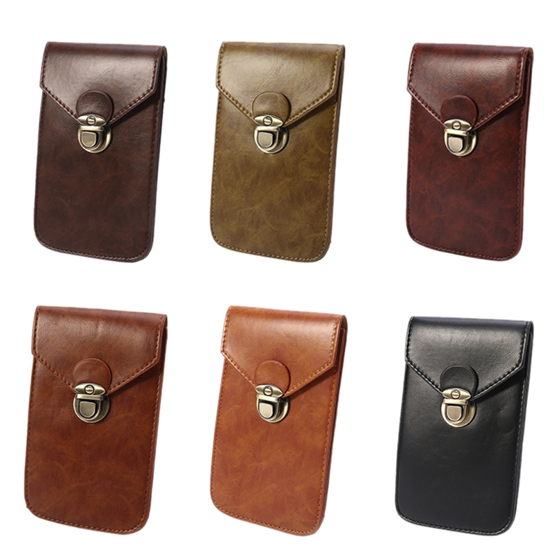 Men PU Leather Small Hook Fanny Waist Bag Hip Bum Pack Phone Cigaretee Pouch