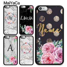 MaiYaCa PERSONALISED FLORAL GOLD MARBLE INITIALS NAME CUSTOM Cover For iPhone XS MAX X XR 8 7 6 6S Plus 5S SE Plastic Phone Case