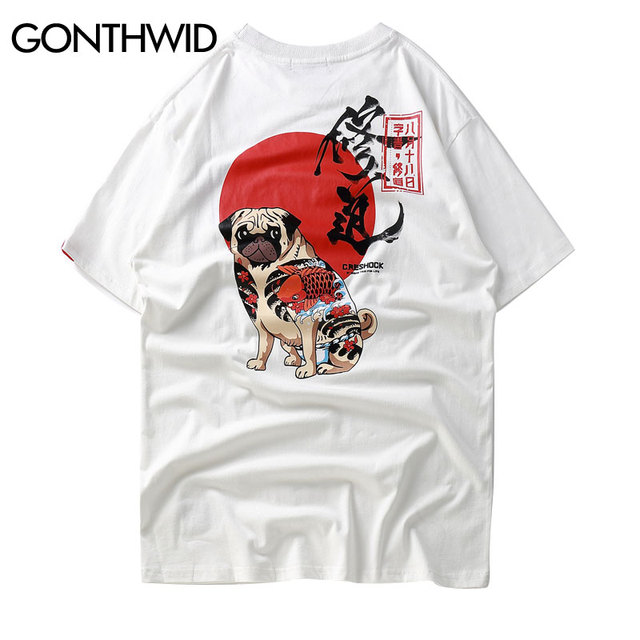 GONTHWID Japanese style Chinese Character Printed Short Sleeve T-Shirt Hip Hop Casual Tshirts Streetwear 2018 Summer Fashion Tee
