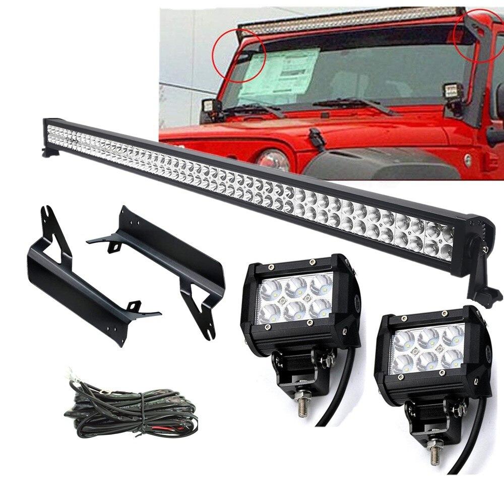 52 inch 300W LED Work Light Bar 4 18W Led Fog Light TJ Windshield Mounting Brackets