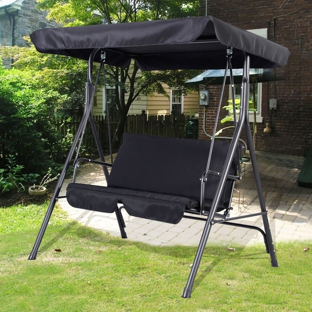 Garden Swing Seat 2 3 Seater Hammock Outdoor Swinging Bench Cushion Chair  Patio Black Free