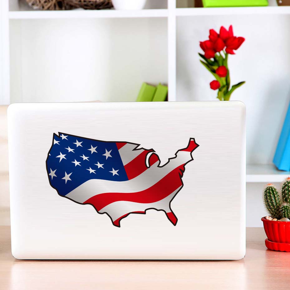 USA Map Color Wall Sticker Country Map Removable PVC Wall