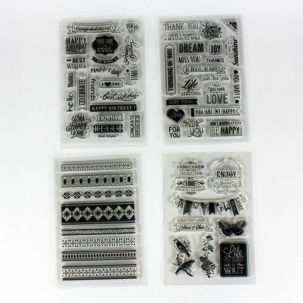 4 listy / hodně kutilství scrapbooking čiré silikonové známky dekorace papercrafts těsnění w / laciness a slova vzor