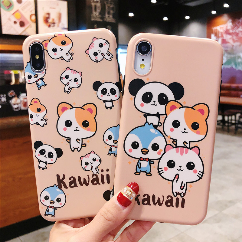 100PCS Cartoon Panda Phone Case For iphone X XR XS MAX Case For iphone 6 6S 7 8 Plus Fashion Soft Back Cover Lovely Cases Fundas