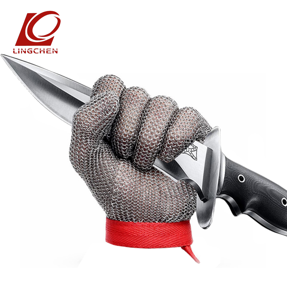 Food grade 304L Stainless Steel ring Safety Gloves Butcher Anti-cutting Proof Work Gloves cut resistant glove top quality 304l stainless steel mesh knife cut resistant chain mail protective glove for kitchen butcher working safety