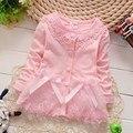 Moda primavera otoño ocasional chicas del arco del cordón chaquetas de la rebeca del bebé embroma escudo del bebé niños de la princesa Outwear las capas S2116