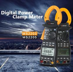 PEAKMETER PM2203 3-Phase LCD Digital Professional High Sensitivity Clamp Power Meter Factor Correction Data Log Rs232 True-RMS