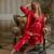 XIFENNI Marca Mulheres Conjuntos de Pijama Pijama De Cetim De Seda Vermelho Três-Pedaço Rendas Bordado Imitação de Seda Pijamas Femininos 1535
