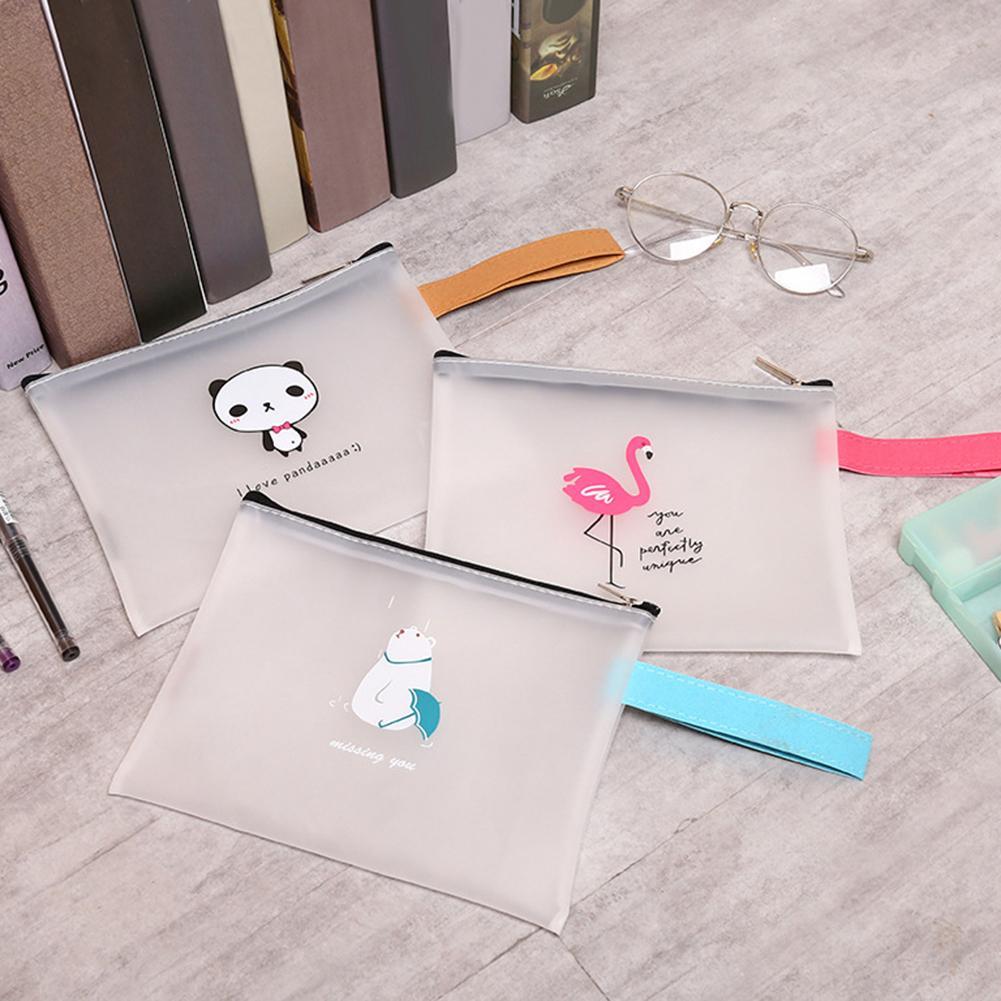 Lovely Flamingo Panda Bear Transparent Zipper Handle Folder Student Stationary Office School Supplies