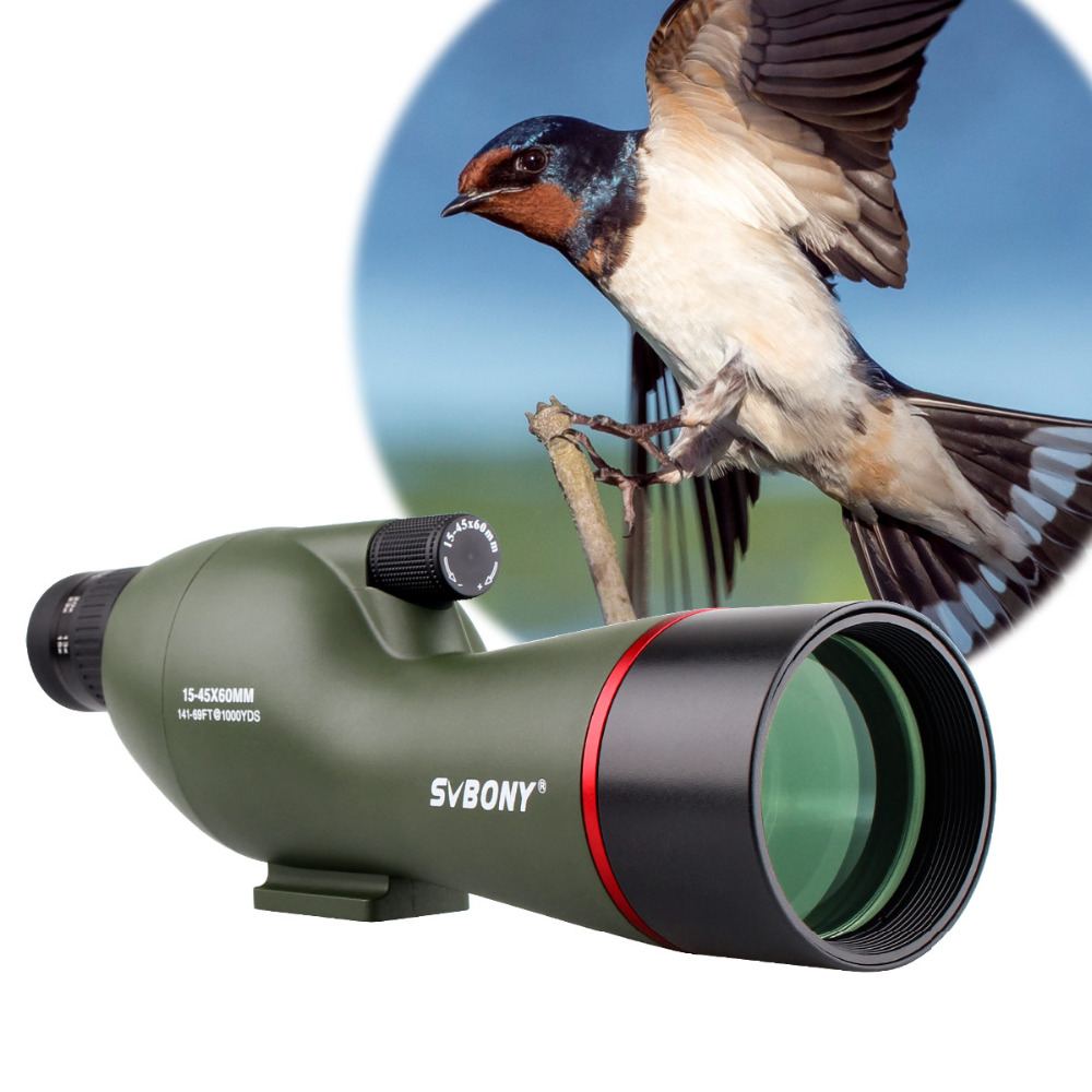 SVBONY SV19 Spotting Scope 15-45x60SE Waterproof Shooting Archery Hunting Birdwatching FMC Telescope & Phone Adapter F9328 stika sv 15