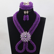 Luxury Purple Blue Nigerian African Wedding Crystal Bead Jewelry Set Dubai Bride Necklace Set Free Shipping QW938