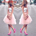 Cheap Two Piece Pink Robe De Cocktail Dresses With Delivery 2016 Spaghetti Strap Tulle Knee Length Party Prom Dress Gown
