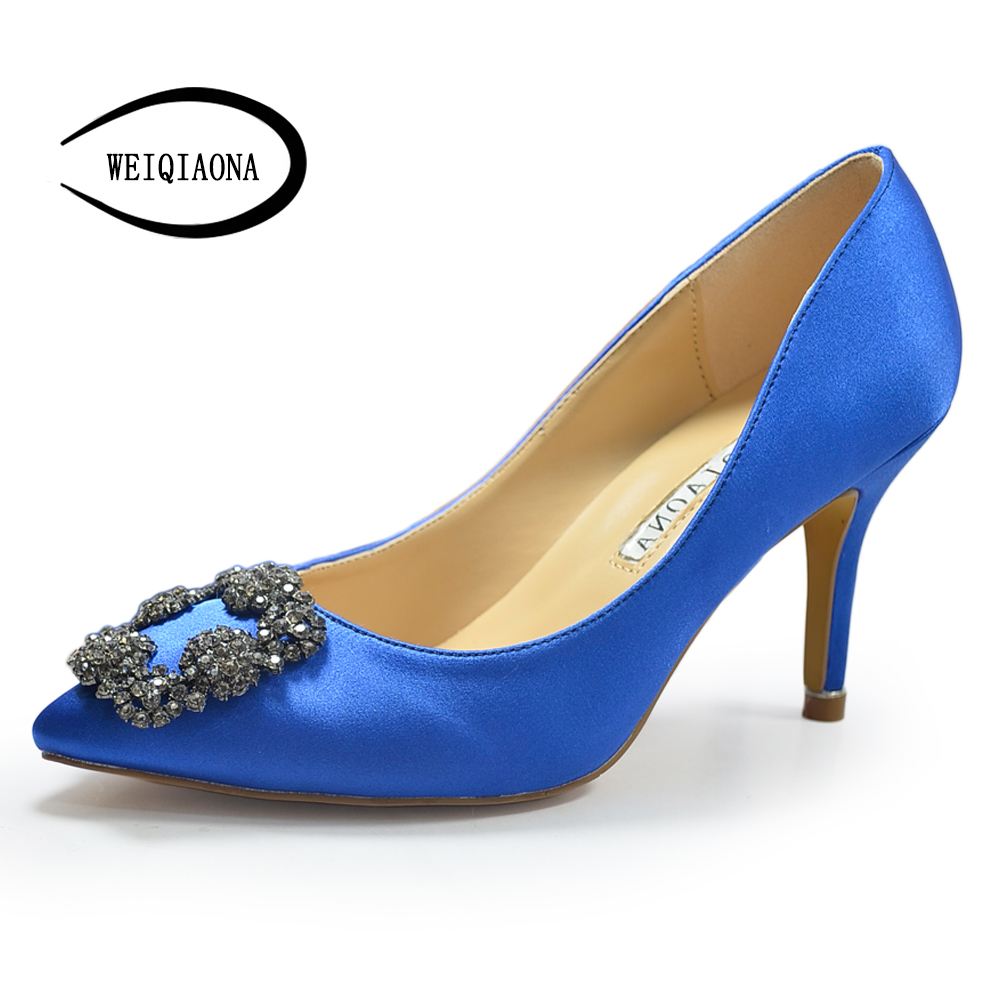WEIQIAONA Fashion Brand shoes Sexy Women Pumps High Heels Shoes Elegant Buckle Rhinestone Heeled Thin Pointed Dress Shoes lakeshi new fashion pumps thin sexy high heeled shoes woman pointed suede hollow out bowknot sweet elegant women shoes